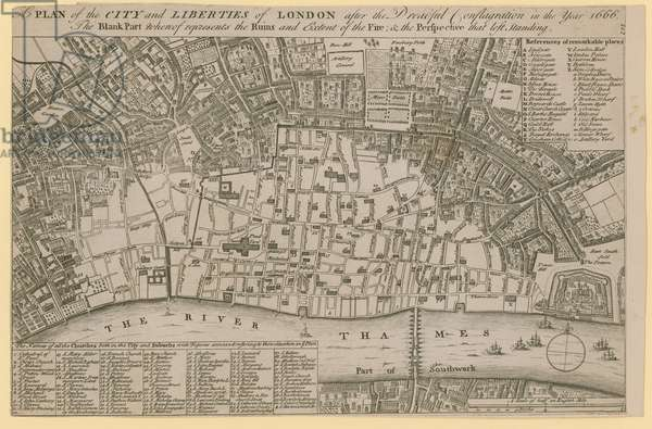Plan of the City and Liberties of London after the dreadful conflagration in the year 1666 (engraving)