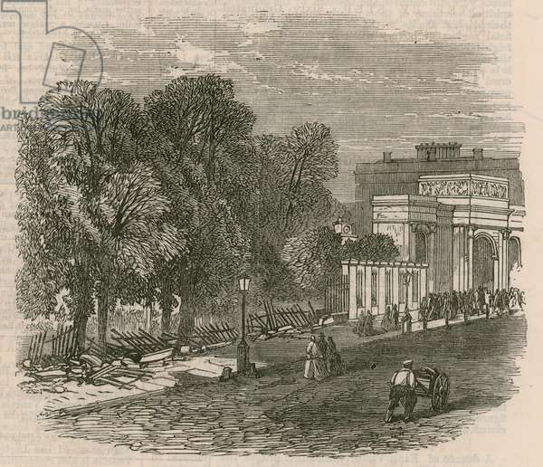 The Riot in Hyde Park: The broken railings at Hyde Park Corner (engraving)