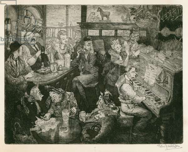 London WW2 pub scene (etching)