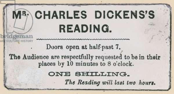 Ticket for a Charles Dickens reading (engraving)