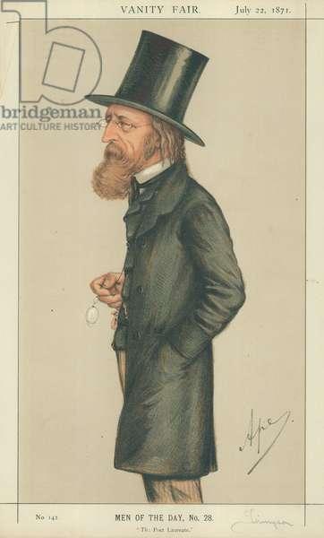 Alfred Tennyson, The Poet Laureate, 22 July 1871, Vanity Fair cartoon (colour litho)