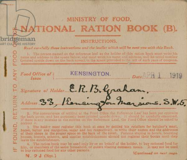 Ministry of Food National Ration Book (engraving)