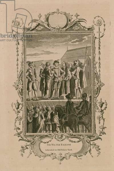 Sir Walter Raleigh beheaded in Old Palace Yard (engraving)