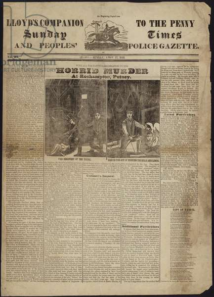 Cover of LLoyd's Companion to the Penny Sunday Times and Peoples' Police Gazette (engraving)