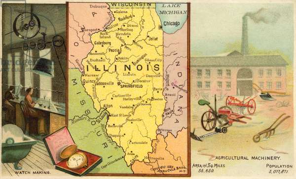 Illinois, USA (chromolitho)