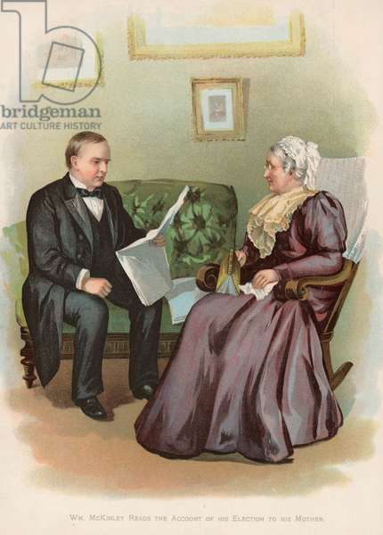 William McKinley reads the account of his election to his mother (chromolitho)