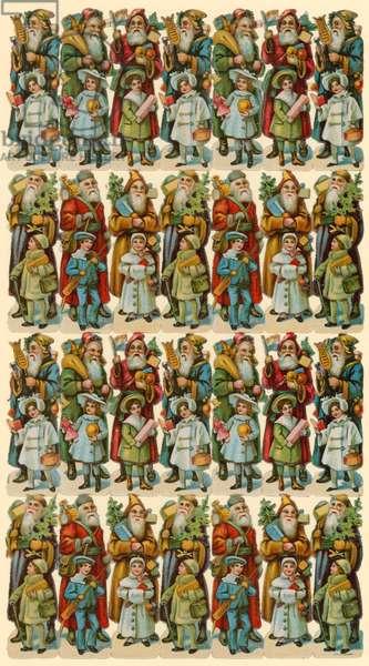 Santa Claus with children, sheet of figures (chromolitho)
