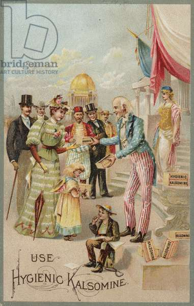 Uncle Sam distributing Kalsomine (chromolitho)