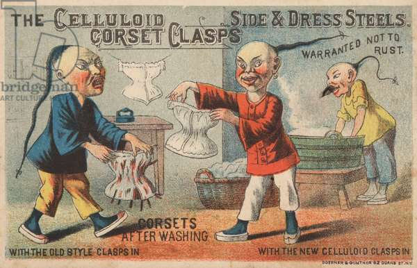 Scene in a Chinese laundry, advertisement for Celluloid Corset Clasps (chromolitho)