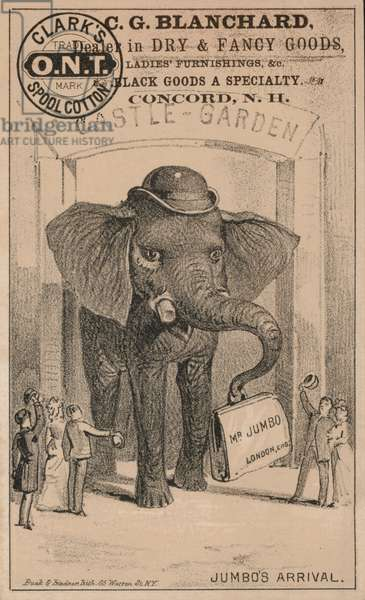 Jumbo's arrival, advertisement for Clark's spool cotton, featuring P T Barnum's famous circus elephant (litho)