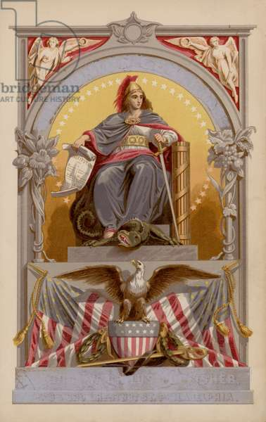 Allegorical figure representing the United States of America (colour litho)
