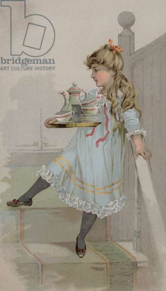 Girl carrying a pot of coffee on a tray (chromolitho)