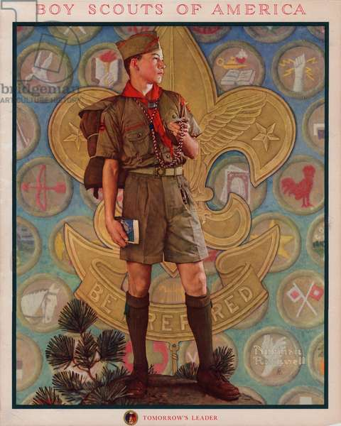 Portrait of an American Boy Scout (colour litho)