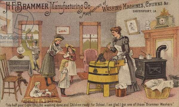 Woman using Washing Machine (chromolitho)