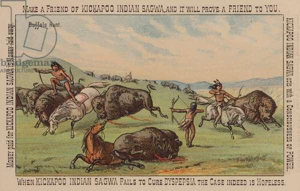 Native American hunting buffalo (chromolitho)