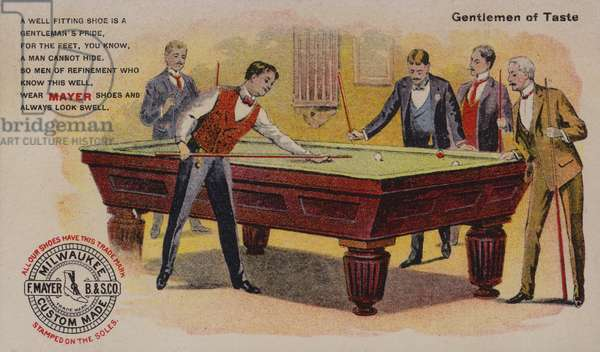 Men playing billiards, American trade card advertising Mayer shoes, Milwaukee, Wisconsin (colour litho)