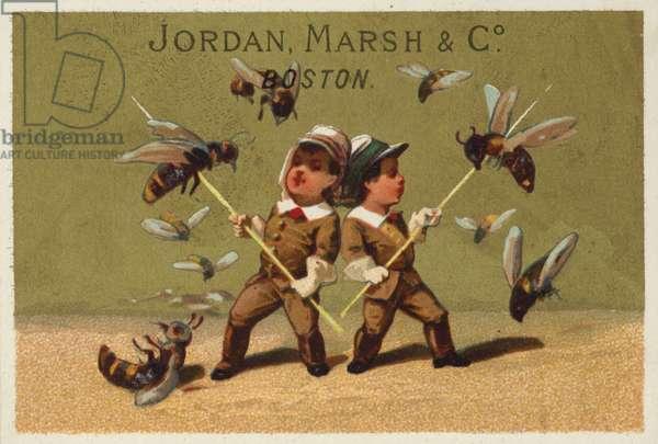 Boys and Attacking Wasps (chromolitho)