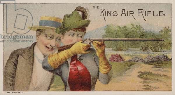 American trade card advertising King air rifles (chromolitho)