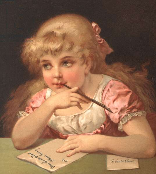 Young girl writing a letter to Santa Claus (colour litho)