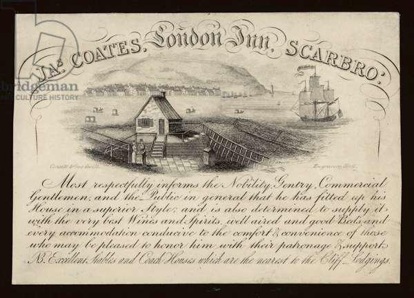 Advertisement for the London Inn, Scarborough, Yorkshire (engraving)