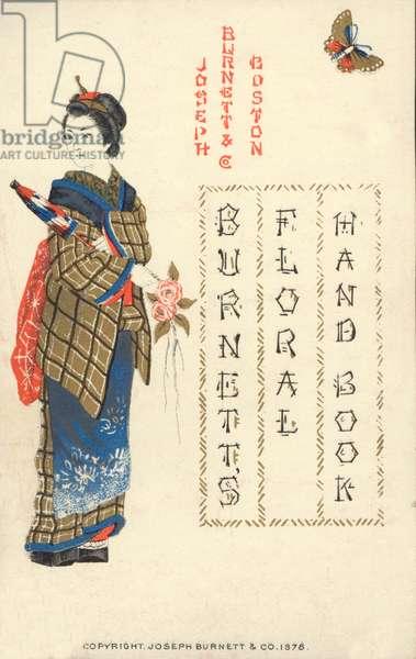 Japanese woman, Burnett's Floral Handbook, 1878 (chromolitho)