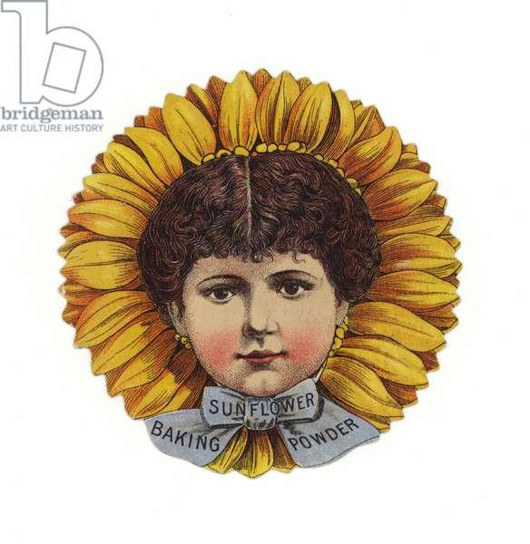 Lady Wearing Sunflower Hat, Head Only (chromolitho)
