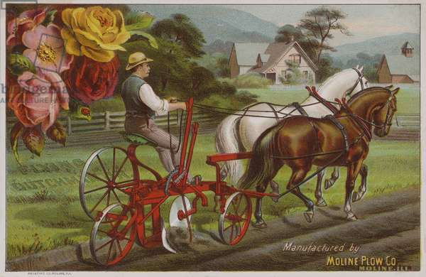 American trade card advertising the Moline Plow Company, Illinois, c1880s (colour litho)
