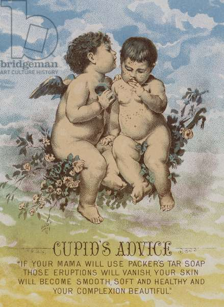 Cupid's advice, American trade card advertising Packer's tar soap (chromolitho)