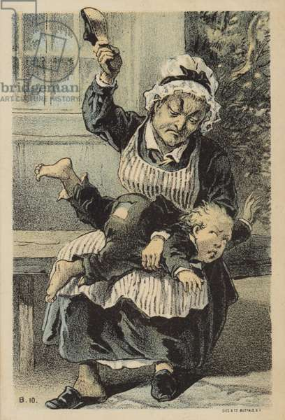 Woman Spanking Boy (chromolitho)