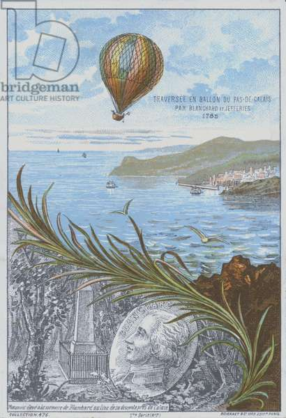 Jean-Pierre Blanchard and John Jeffries making the first balloon flight across the English Channel, 7 January 1785 (colour litho)