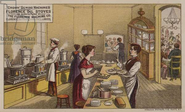 American trade card advertising sewing machines and oil stoves manufactured by the Florence Machine Company, Massachusetts, c1880s (colour litho)
