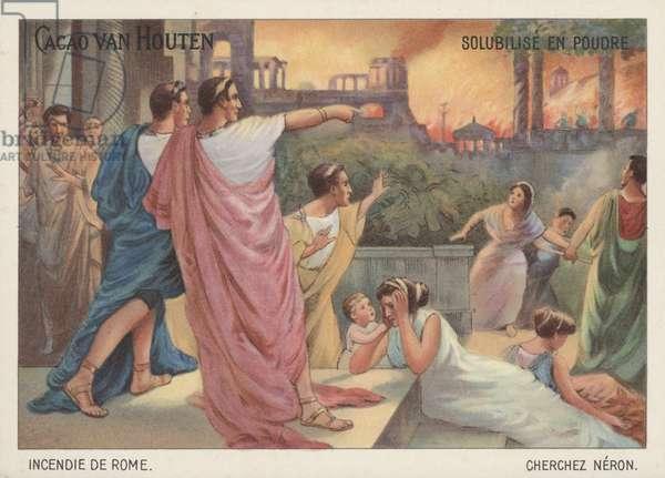 Nero watching Rome burning, 64 (chromolitho)
