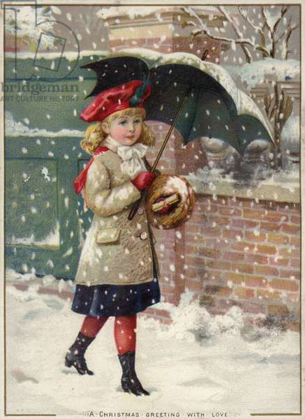 Girl with umbrella in a snow shower (chromolitho)