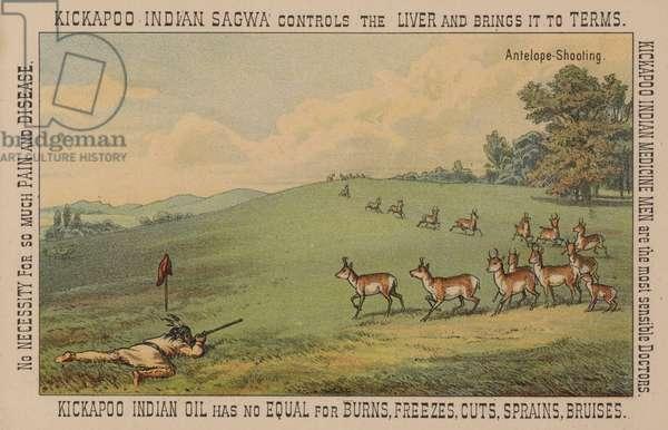 Native American brave shooting antelope (chromolitho)