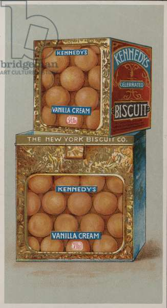 Advertisement for Kennedy's Vanilla Cream biscuits (chromolitho)