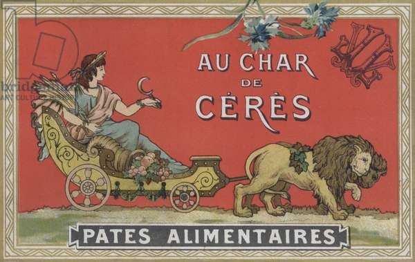 Ceres in a cart being pulled by lions (colour litho)