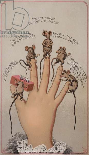Mice and mousetrap (chromolitho)