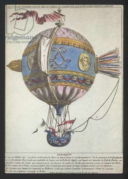 Design for a balloon of a diameter of 120 feet to make an ascent from Dijon (coloured engraving)