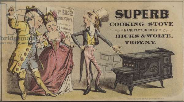 Uncle Sam selling a Superb Cooking Stove (chromolitho)