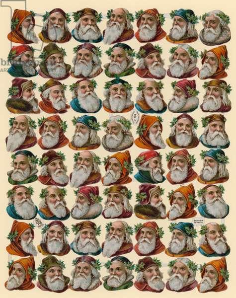 Santa Claus, sheet of heads (chromolitho)