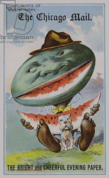 Watermelon, American trade card advertising The Chigago Mail newspaper (colour litho)
