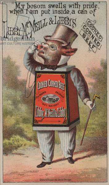 Advertisement for Libby, McNeill & Libby's cooked corned beef (chromolitho)
