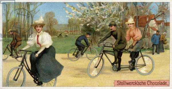 Men and women on bicycles (chromolitho)