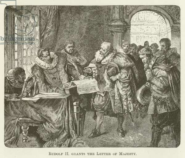 Rudolf II grants the Letter of Majesty (engraving)