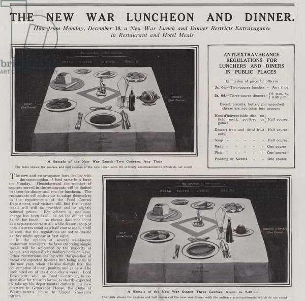 The New War Lunch and Dinner, designed to restrict extravagance in restaurant and hotel meals (litho)