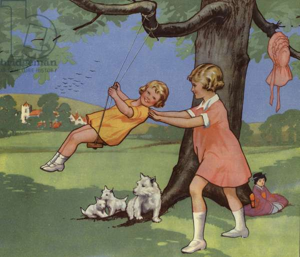 Girls playing on swing in English countryside (colour litho)