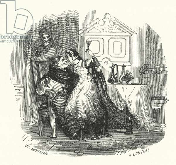 Priest carousing with a woman (engraving)