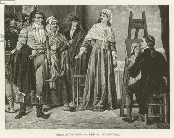 Charlotte Corday led to execution (engraving)