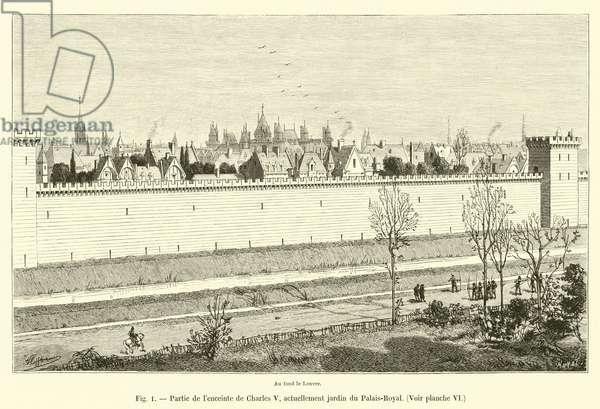 Partie de l'enceinte de Charles V, actuellement jardin du Palais-Royal, Voir planche VI (engraving)