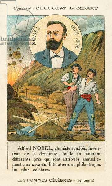 Alfred Nobel, Swedish chemist and industrialis who invented dynamite (chromolitho)